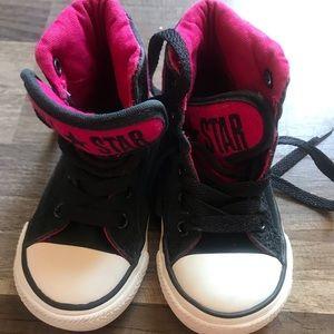 Black and Hot Pink Toddler Size 5 Hi-Top Converses